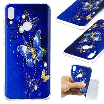100% authentic 1b608 9827c Gold and Blue Butterfly Super Clear Soft TPU Back Cover for Huawei Y7(2019)  / Y7 Prime(2019) / Y7 Pro(2019)