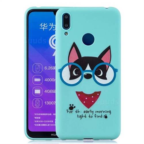 Green Glasses Dog Soft Kiss Candy Hand Strap Silicone Case for Huawei  Y7(2019) / Y7 Prime(2019) / Y7 Pro(2019)