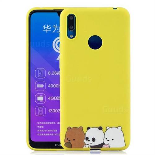 Yellow Bear Family Soft Kiss Candy Hand Strap Silicone Case for Huawei  Y7(2019) / Y7 Prime(2019) / Y7 Pro(2019)