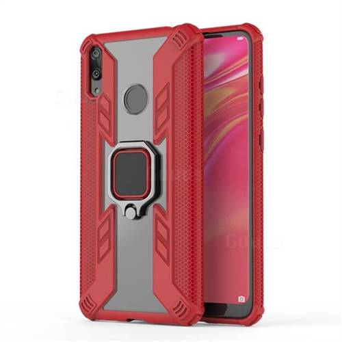 Predator Armor Metal Ring Grip Shockproof Dual Layer Rugged Hard Cover for Huawei Y7(2019) / Y7 Prime(2019) / Y7 Pro(2019) - Red
