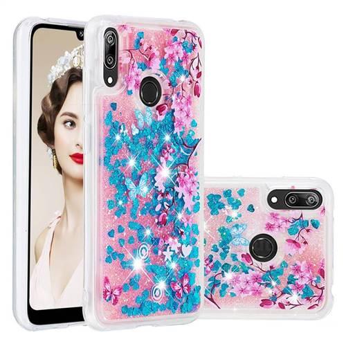 Blue Plum Blossom Dynamic Liquid Glitter Quicksand Soft TPU Case for Huawei Y7(2019) / Y7 Prime(2019) / Y7 Pro(2019)