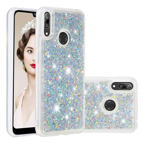 Dynamic Liquid Glitter Quicksand Sequins TPU Phone Case for Huawei Y7(2019) / Y7 Prime(2019) / Y7 Pro(2019) - Silver