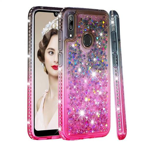 Diamond Frame Liquid Glitter Quicksand Sequins Phone Case for Huawei Y7(2019) / Y7 Prime(2019) / Y7 Pro(2019) - Gray Pink