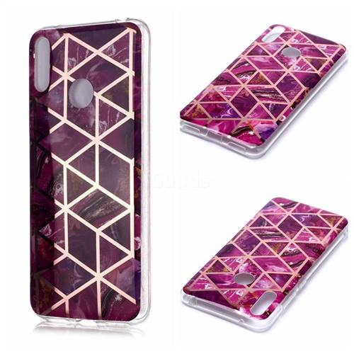 Purple Rhombus Galvanized Rose Gold Marble Phone Back Cover for Huawei Y7(2019) / Y7 Prime(2019) / Y7 Pro(2019)