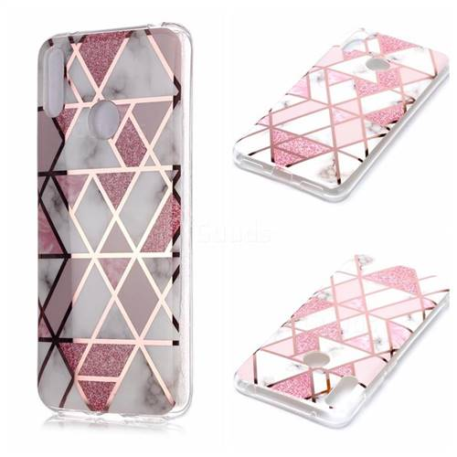 Pink Rhombus Galvanized Rose Gold Marble Phone Back Cover for Huawei Y7(2019) / Y7 Prime(2019) / Y7 Pro(2019)