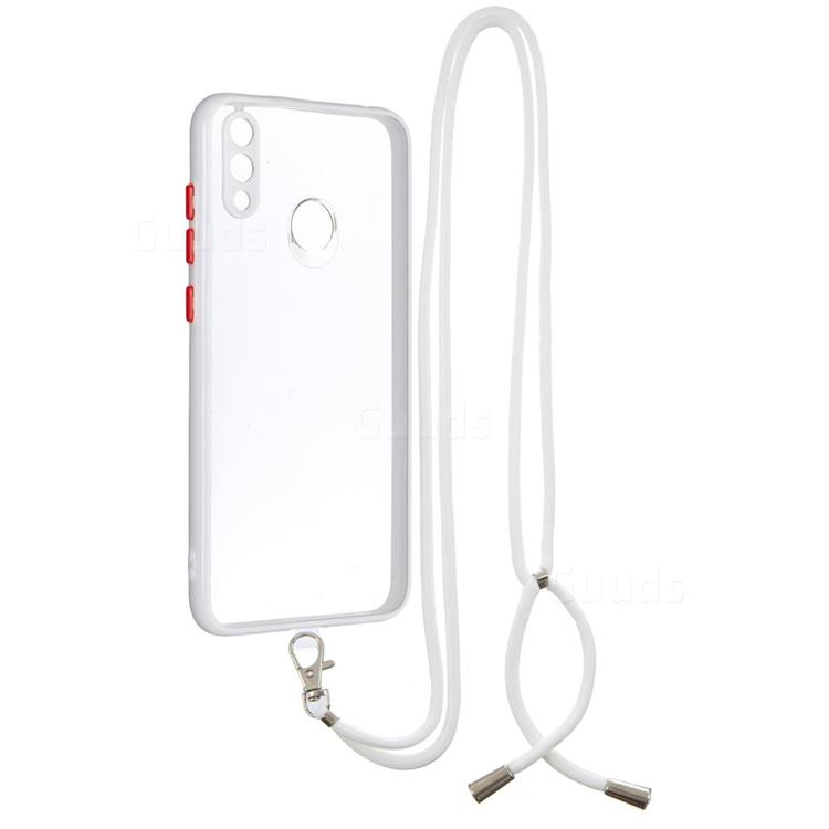 Necklace Cross-body Lanyard Strap Cord Phone Case Cover for Huawei Y7(2019) / Y7 Prime(2019) / Y7 Pro(2019) - White