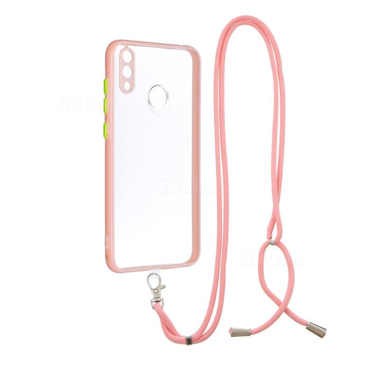 Necklace Cross-body Lanyard Strap Cord Phone Case Cover for Huawei Y7(2019) / Y7 Prime(2019) / Y7 Pro(2019) - Pink