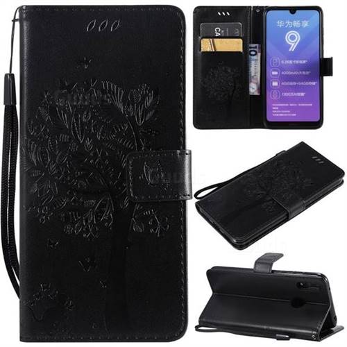 Embossing Butterfly Tree Leather Wallet Case for Huawei Y7(2019) / Y7 Prime(2019) / Y7 Pro(2019) - Black