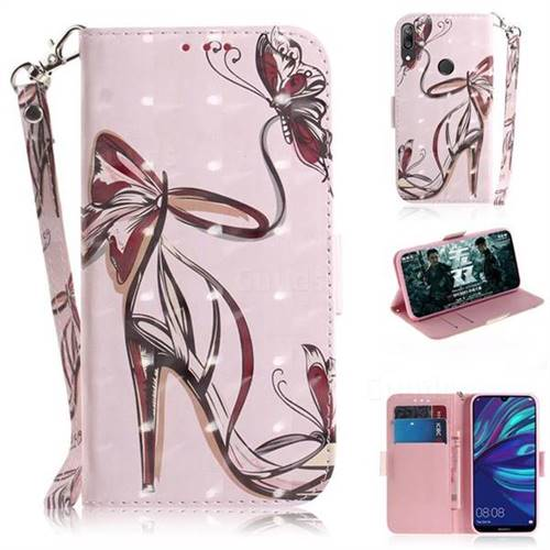 Butterfly High Heels 3D Painted Leather Wallet Phone Case for Huawei Y7(2019) / Y7 Prime(2019) / Y7 Pro(2019)