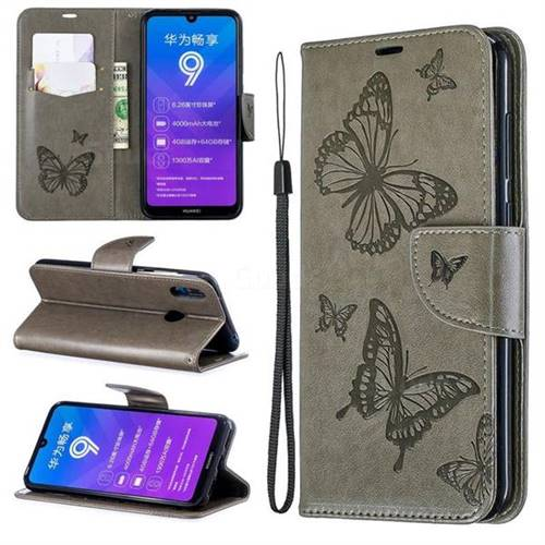 timeless design f7ff3 5e0c2 Embossing Double Butterfly Leather Wallet Case for Huawei Y7(2019) / Y7  Prime(2019) / Y7 Pro(2019) - Gray