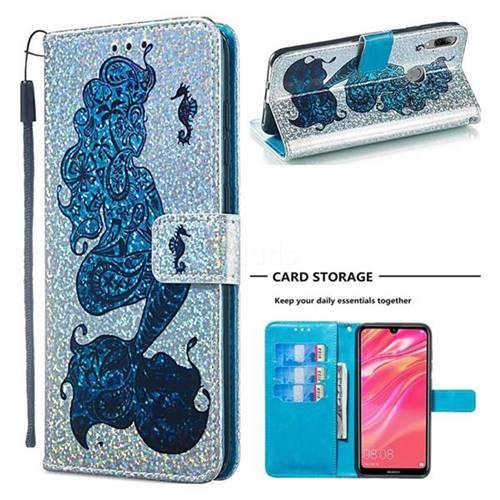 Mermaid Seahorse Sequins Painted Leather Wallet Case for Huawei Y7(2019) / Y7 Prime(2019) / Y7 Pro(2019)
