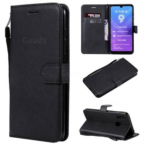 Retro Greek Classic Smooth PU Leather Wallet Phone Case for Huawei Y7(2019) / Y7 Prime(2019) / Y7 Pro(2019) - Black