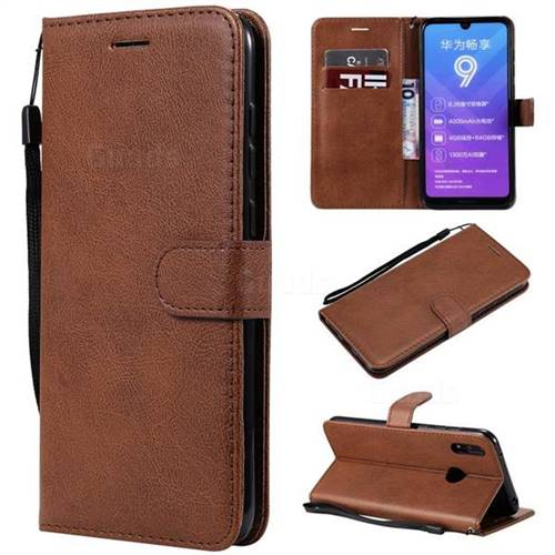 Retro Greek Classic Smooth PU Leather Wallet Phone Case for Huawei Y7(2019) / Y7 Prime(2019) / Y7 Pro(2019) - Brown