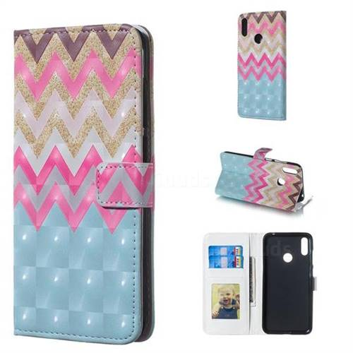Color Wave 3D Painted Leather Phone Wallet Case for Huawei Y7(2019) / Y7 Prime(2019) / Y7 Pro(2019)