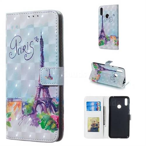 Paris Tower 3D Painted Leather Phone Wallet Case for Huawei Y7(2019) / Y7 Prime(2019) / Y7 Pro(2019)
