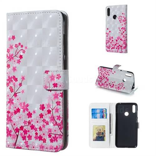 Cherry Blossom 3D Painted Leather Phone Wallet Case for Huawei Y7(2019) / Y7 Prime(2019) / Y7 Pro(2019)