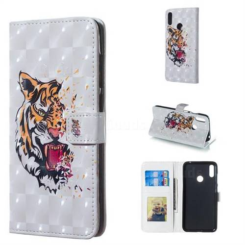 Toothed Tiger 3D Painted Leather Phone Wallet Case for Huawei Y7(2019) / Y7 Prime(2019) / Y7 Pro(2019)