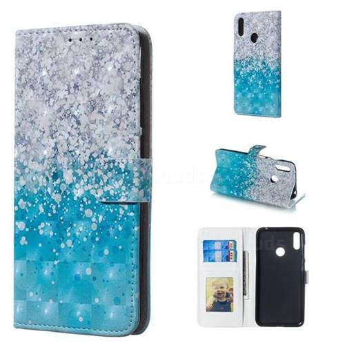 Sea Sand 3D Painted Leather Phone Wallet Case for Huawei Y7(2019) / Y7 Prime(2019) / Y7 Pro(2019)
