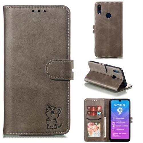 Embossing Happy Cat Leather Wallet Case for Huawei Y7(2019) / Y7 Prime(2019) / Y7 Pro(2019) - Gray