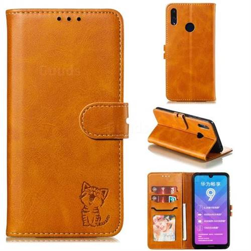 Embossing Happy Cat Leather Wallet Case for Huawei Y7(2019) / Y7 Prime(2019) / Y7 Pro(2019) - Yellow