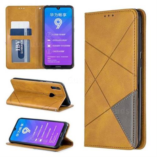 Prismatic Slim Magnetic Sucking Stitching Wallet Flip Cover for Huawei Y7(2019) / Y7 Prime(2019) / Y7 Pro(2019) - Yellow