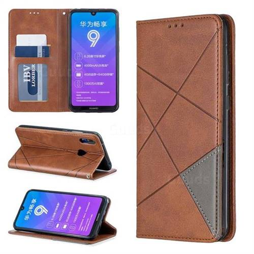 Prismatic Slim Magnetic Sucking Stitching Wallet Flip Cover for Huawei Y7(2019) / Y7 Prime(2019) / Y7 Pro(2019) - Brown