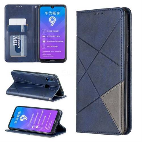 Prismatic Slim Magnetic Sucking Stitching Wallet Flip Cover for Huawei Y7(2019) / Y7 Prime(2019) / Y7 Pro(2019) - Blue