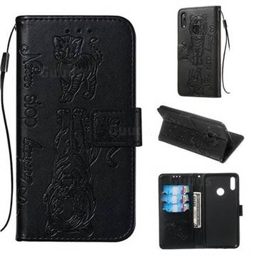 Embossing Tiger and Cat Leather Wallet Case for Huawei Y7(2019) / Y7  Prime(2019) / Y7 Pro(2019) - Black - Huawei Y7(2019) Cases - Guuds