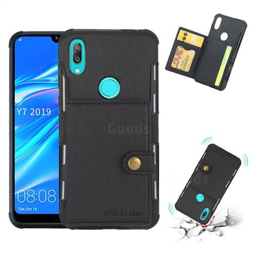 Brush Multi-function Leather Phone Case for Huawei Y7(2019) / Y7 Prime(2019) / Y7 Pro(2019) - Black