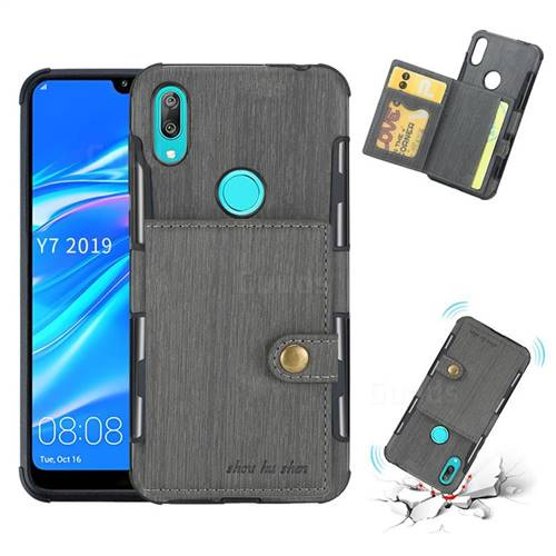 Brush Multi-function Leather Phone Case for Huawei Y7(2019) / Y7 Prime(2019) / Y7 Pro(2019) - Gray