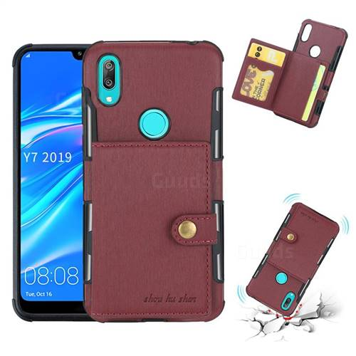 Brush Multi-function Leather Phone Case for Huawei Y7(2019) / Y7 Prime(2019) / Y7 Pro(2019) - Wine Red