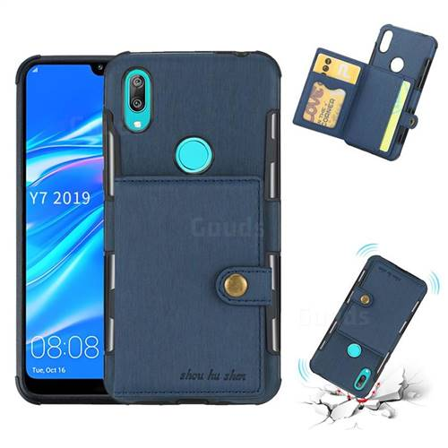 Brush Multi-function Leather Phone Case for Huawei Y7(2019) / Y7 Prime(2019) / Y7 Pro(2019) - Blue