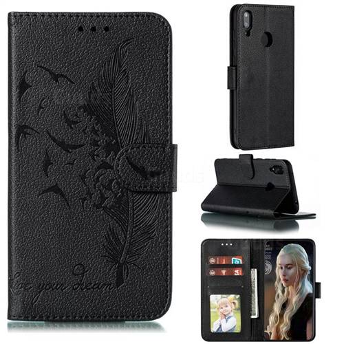 Intricate Embossing Lychee Feather Bird Leather Wallet Case for Huawei Y7(2019) / Y7 Prime(2019) / Y7 Pro(2019) - Black