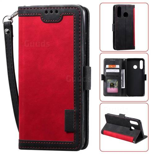 Luxury Retro Stitching Leather Wallet Phone Case for Huawei Y7(2019) / Y7 Prime(2019) / Y7 Pro(2019) - Deep Red