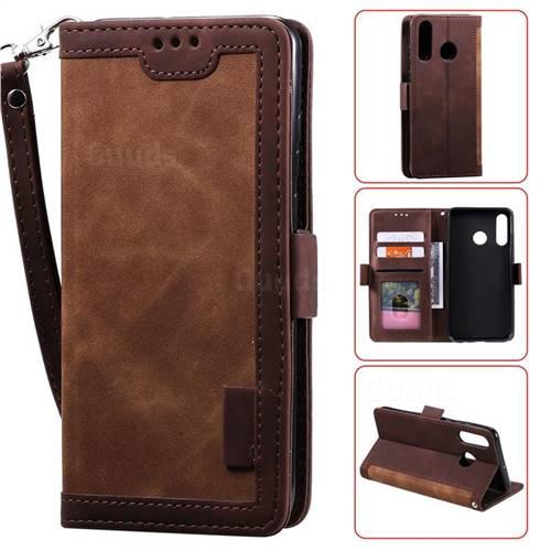 Luxury Retro Stitching Leather Wallet Phone Case for Huawei Y7(2019) / Y7 Prime(2019) / Y7 Pro(2019) - Dark Brown