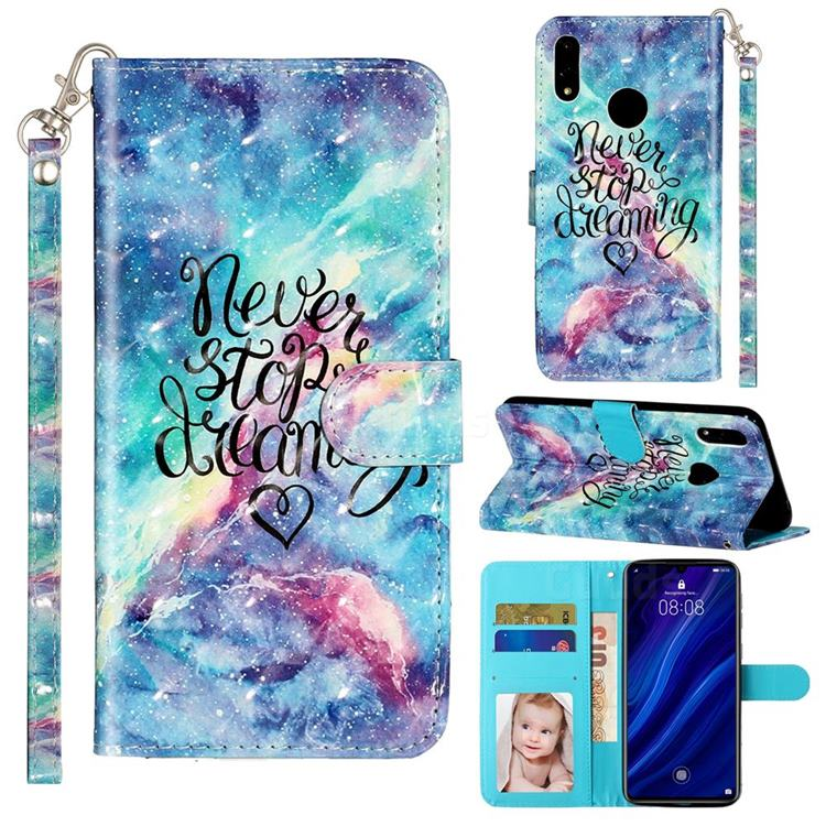 Blue Starry Sky 3D Leather Phone Holster Wallet Case for Huawei Y7(2019) / Y7 Prime(2019) / Y7 Pro(2019)