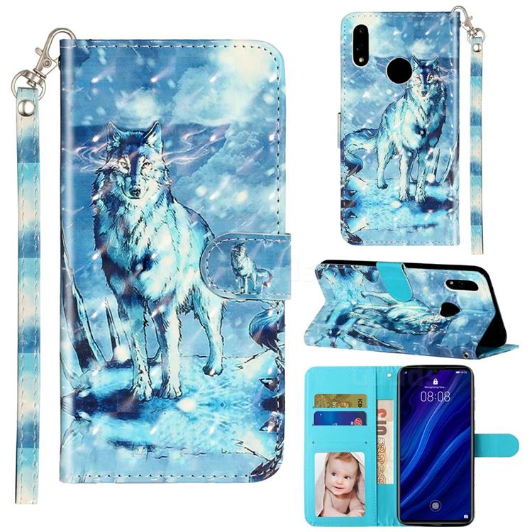 Snow Wolf 3D Leather Phone Holster Wallet Case for Huawei Y7(2019) / Y7 Prime(2019) / Y7 Pro(2019)