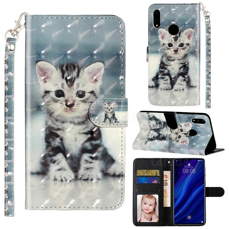 Kitten Cat 3D Leather Phone Holster Wallet Case for Huawei Y7(2019) / Y7 Prime(2019) / Y7 Pro(2019)