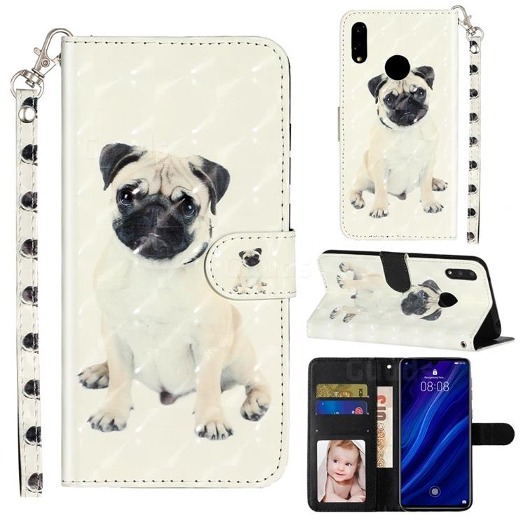 Pug Dog 3D Leather Phone Holster Wallet Case for Huawei Y7(2019) / Y7 Prime(2019) / Y7 Pro(2019)