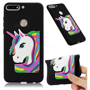 Rainbow Unicorn Soft 3D Silicone Case for Huawei Y7(2018) - Black
