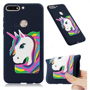 Rainbow Unicorn Soft 3D Silicone Case for Huawei Y7(2018) - Navy