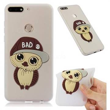 Bad Boy Owl Soft 3D Silicone Case for Huawei Y7(2018) - Translucent White