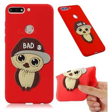 Bad Boy Owl Soft 3D Silicone Case for Huawei Y7(2018) - Red