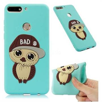 Bad Boy Owl Soft 3D Silicone Case for Huawei Y7(2018) - Sky Blue