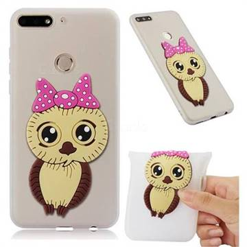 Bowknot Girl Owl Soft 3D Silicone Case for Huawei Y7(2018) - Translucent White