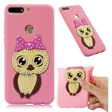 Bowknot Girl Owl Soft 3D Silicone Case for Huawei Y7(2018) - Pink
