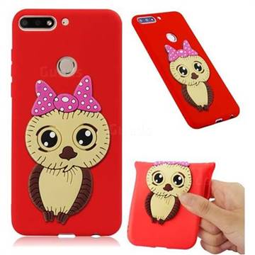 Bowknot Girl Owl Soft 3D Silicone Case for Huawei Y7(2018) - Red