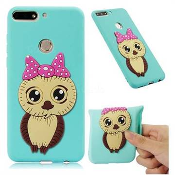 Bowknot Girl Owl Soft 3D Silicone Case for Huawei Y7(2018) - Sky Blue