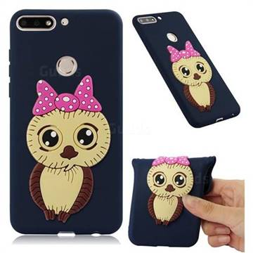 Bowknot Girl Owl Soft 3D Silicone Case for Huawei Y7(2018) - Navy