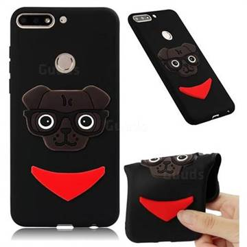 Glasses Dog Soft 3D Silicone Case for Huawei Y7(2018) - Black